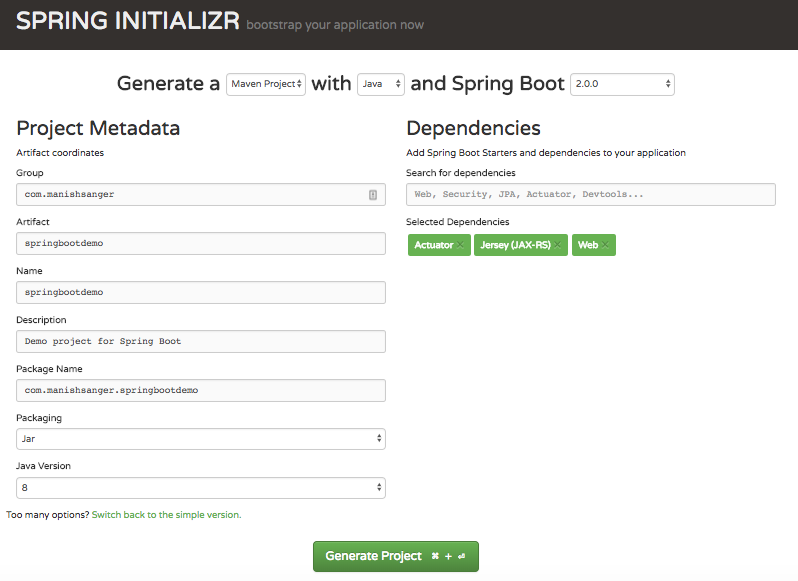 Spring Initializr- Spring Boot, bootstrap your first REST API application
